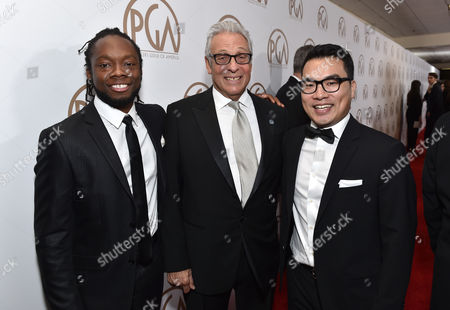 EXCLUSIVE -Chidi Onyejuruwa, from left, Hawk Koch, and Tim Wen arrive at the 26th Annual Producers Guild Awards at the Hyatt Regency Century Plaza, in Los Angeles