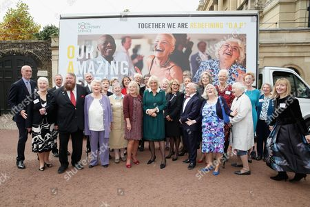 Stock Image of Camilla Duchess of Cornwall (C) hosts a reception to celebrate the launch of the 'Our Amazing People' campaign with Royal Voluntary Service Ambassadors Dame Patricia Routledge (5thL), Felicity Kendal (11thR) and Wayne Sleep (8thR) as well as actors Brian Blessed (4thL), Penelope Wilton (10thL) and Maureen Lipman (7thR)