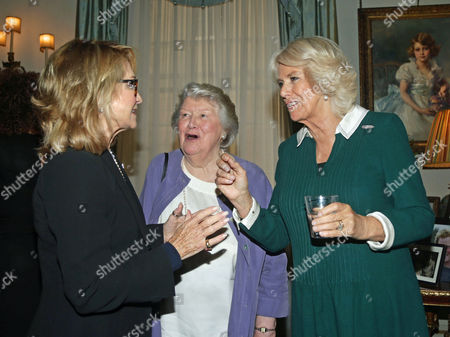 Stock Picture of Camilla Duchess of Cornwall (right) with Felicity Kendal (left) and Dame Patricia Routledge during a reception to celebrate the launch of the Royal Voluntary Service's 'Our Amazing People' campaign, at Clarence House
