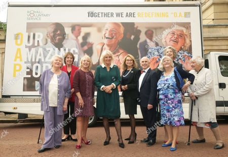 Camilla Duchess of Cornwall (centre) with (left to right) Dame Patricia Routledge, Dame Penelope Wilton, Elaine Paige, Felicity Kendal, Wayne Sleep, Ann Widdecombe, Maureen Lipman and Baroness Williams during a reception to celebrate the launch of the Royal Voluntary Service's 'Our Amazing People' campaign, at Clarence House