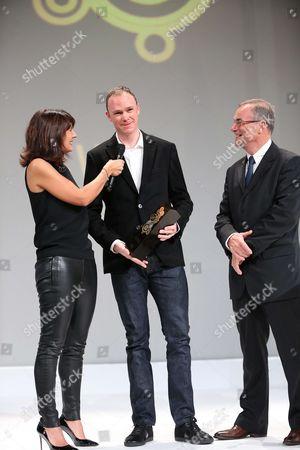 The Equipe TV Journalist, Estelle Denis ; Chris Froome (Sky) ; Bernard Hinault