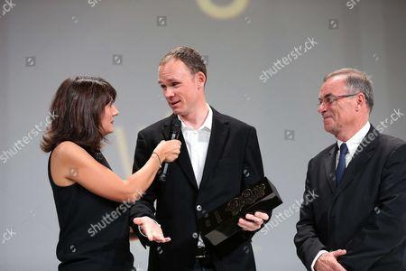 The Equipe TV Journalist, Estelle Denis ; Chris Froome (Sky), Bernard Hinault