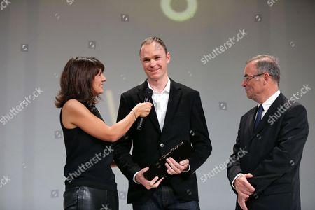 The Equipe TV Journalist, Estelle Denis, Chris Froome (Sky), Bernard Hinault