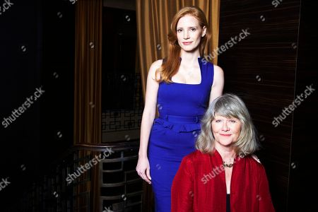 From left, Jessica Chastain and Judith Ivey, co-stars of the Tony Award-winning play, THE HEIRESS, pose for a portrait on at the Empire Hotel in New York