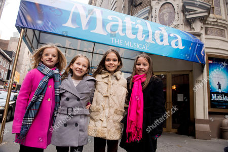 "From left, Milly Shapiro, Sophia Gennusa, Oona Laurence and Bailey Ryon, the four actresses who share the starring role in ""Matilda the Musical"" on Broadway, outside the Shubert Theatre in New York. The administration committee for the awards met Friday for the fourth and final time to determine the eligibility of certain shows and ruled that the qurtet of actresses who rotate as the lead in Matilda are not eligible in the category of Best Performance by an Actress in a Musical category"