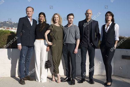 (L-R) Alistair Petrie (english actor), Karima McAdams (actress), Anastasia Griffiths (french actress), Joe Dempsie (english actor), Mark Strong (british actor), Lyne Renee (belgian actress)