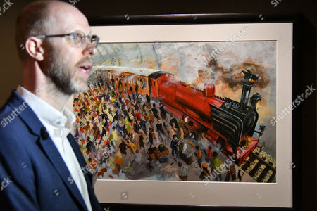 Stock Image of Hogwarts Express steam engine at Platform 9¾ painting by Jim Kay