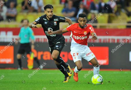 Monaco's Thomas Lemar comes away from  Caen's Youssef Ait Bennasser