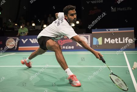 Rajiv Ouseph of England plays against Shi Yuqi of China (not seen) during their men's singles match at the Danish Open badminton tournament in Odense, Denmark, 18 October 2017.
