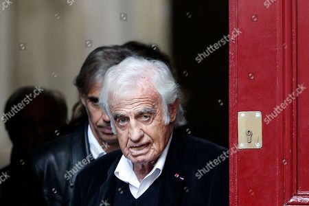 French actor Jean Paul Belmondo leaves the funeral ceremony for French actor Jean Rochefort at the Saint Thomas d'Aquin church in Paris, . French actor Jean Rochefort, who starred in more than 100 movies over a half-century and was much loved by the French public, has died. He was 87