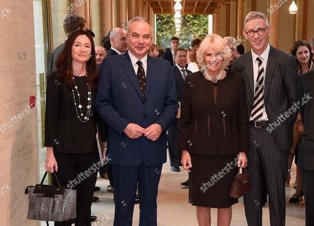 His Royal Highness Sultan Raja Nazrin Shah of Perak, Malaysia (C), his wife Tuanku Zara Salim (L) and Camilla Duchess of Cornwall (R)