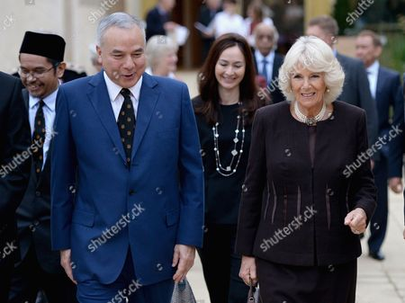 Stock Image of Camilla Duchess of Cornwall visits Worcester College Oxford with His Royal Highness Sultan Raja Nazrin Shah of Perak, Malaysia
