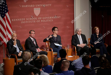 "Jeh Johnson, Ash Carter, Rachel Maddow, Ernest Moniz, Samantha Power. Seated from the left, former Secretary of the Department of Homeland Security Jeh Johnson, Harvard professor and former U.S. Secretary of Defense, Ash Carter, MSNBC television anchor Rachel Maddow, former U.S. Secretary of Energy Ernest Moniz, and Harvard professor Samantha Power, participate in a forum called ""Perspectives on National Security,"", at the John F. Kennedy School of Government, on the campus of Harvard University, in Cambridge, Mass"