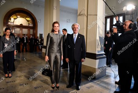 Uruguay's President Tabare Vazquez, center right, and Princess Lalla Salma of Morocco pose for photographers before the World Health Organization conference on noncommunicable diseases in Montevideo, Uruguay