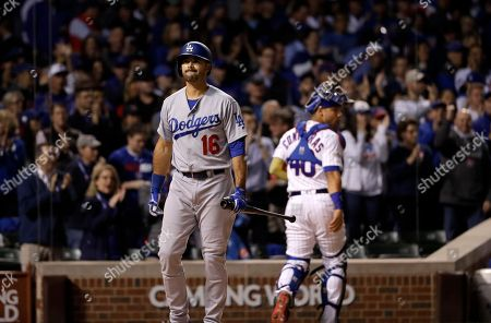 Los Angeles Dodgers' Andre Ethier (16) reacts after striking out during the first inning of Game 4 of baseball's National League Championship Series against the Chicago Cubs, in Chicago