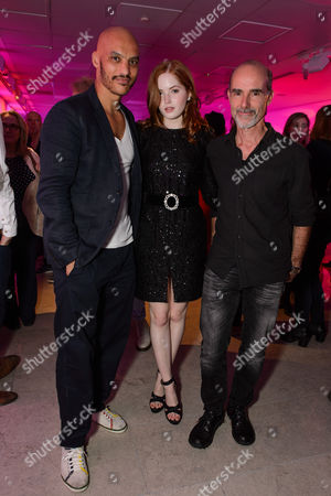 Stock Picture of Jake Fairbrother and Ellie Bamber with Finbar Lynch