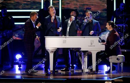 Stock Image of A. J. McLean, Howie D., Nick Carter, Kevin Richardson, Brian Littrell of the group Backstreet Boys perform at 2017 CMT Artist of the Year Awards at Nashville's Schermerhorn Symphony Center, in Nashville, Tenn