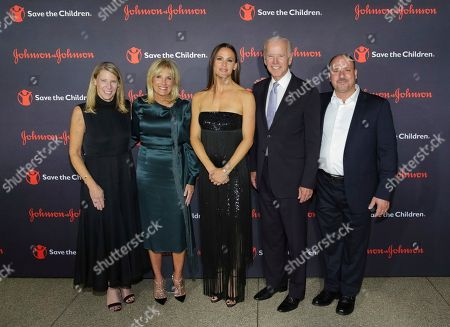 Carolyn Miles, Jill Biden, Jennifer Garner, Joe Biden, Ezaat Aloqla. President/CEO of Save The Children Carolyn Miles, from left, Dr. Jill Biden, Actress/Save The Children Trustee Jennifer Garner, Former Vice President Joe Biden and Ezaat Aloqla attend the 5th Annual Save The Children Illumination Gala at The American Museum of Natural History, in New York