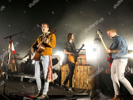"JJ Julius Son, Rubin Pollock, Daniel Kristjansson. JJ Julius Son, from left, Rubin Pollock and Daniel Kristjansson of the band Kaleo perform in concert during their ""Kaleo Express Tour"" at the Tower Theater, in Upper Darby, Pa"