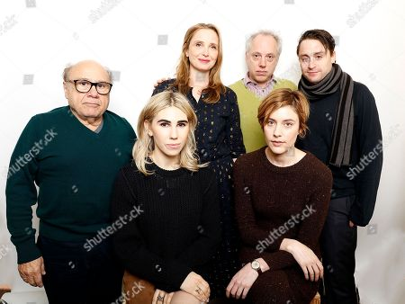 "From top left, Danny DeVito, Julie Delpy, Todd Solondz, Kieran Culkin, Zosia Mamet, and Great Gerwig pose for a portrait to promote the film, ""Wiener-Dog"", at the Toyota Mirai Music Lodge during the Sundance Film Festival on in Park City, Utah"