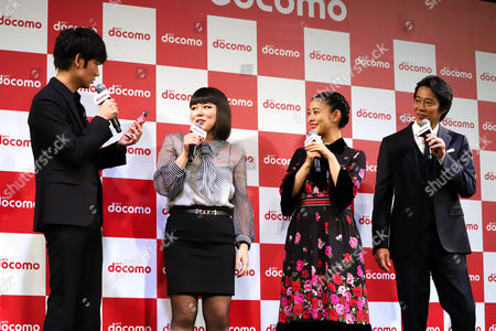 (L-R) Japanese actor Go Ayano, actresses Buruzon Chiemi, Mitsuki Takahata and actor Shinichi Tsutsumi attend a promotional event of Japan's mobile communication giant NTT Docomo