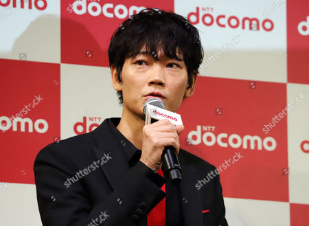 Japanese actor Go Ayano attends a promotional event of Japan's mobile communication giant NTT Docomo