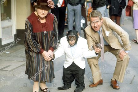 IRENE HANDL AND STANLEY BAXTER WITH A CHIMPANZEE