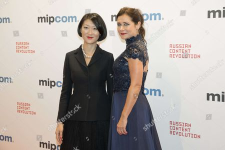 "Fleur Pellerin (president 1st International Cannes Series Festival), Sidse Babett Knudsen (marraine International Cannes Series Festival) for ""CANNESERIES"" attend the Opening Red Carpet Party MIPCOM 2017 at Hotel Carlton"
