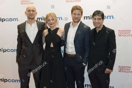 "James Watkins (writer, director), Juliet Rylance (actress), James Norton (actor), Hossein Amini (show runner, writer, director) for the film ""Mcmafia"" attend the Opening Red Carpet Party MIPCOM 2017 at Hotel Carlton"