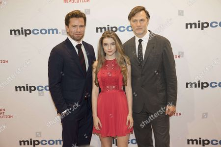 """Nikolaj Lie Kaas (actor), Eleanor Worthington Cox (actress), David Morrissey (actor, producer) for the film """"Britannia"""" attend the Opening Red Carpet Party MIPCOM 2017 at Hotel Carlton"""