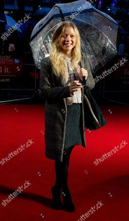 Naomi Battrick arrives at a screening for Director Nik Murphy's Blood during the London Film Festival at The Odeon West End, Leicester Square on in London, UK