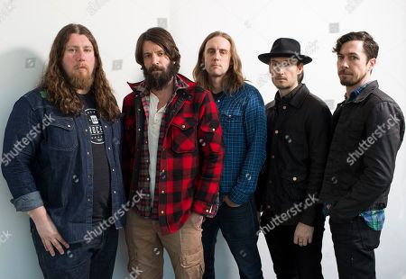 Ray LaMontagne (second from left), poses for a portrait with members of My Morning Jacket, Patrick Hallahan, Carl Broemel, Bo Koster, and Tom Blankenship in New York