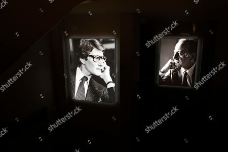 Pictures of French fashion designer Yves Saint Laurent, left, and Pierre Berge are displayed at the Yves Saint Laurent museum, in Paris, . Less than three weeks since the inauguration of a Paris-based museum dedicated to him, The Yves Saint Laurent museum has opened its doors to the public in Marrakech, the Moroccan city beloved by the fashion designer