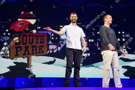 "South Park"" creators Matt Stone, left, and Trey Parker discuss the ""South Park: The Fractured But Whole"" video game onstage at Ubisoft's E3 2015 Conference at the Orpheum Theatre in Los Angeles. Ubisoft unveiled plans, for a VR mask that will pump fart smells into gamers' nostrils as they play ""South Park: The Fractured But Whole"