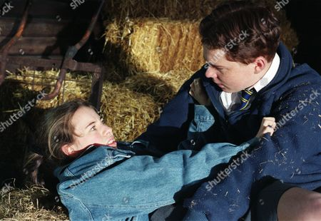 Ep 2214 Tuesday 10th June 1997  Emma Cairns is having fun with her new friend Dean in a barn. Emma lets him kiss her but when he tries to go futher she ends up kneeing him in groin - With Emma Cairns, as played by Rebecca Loudonsack ; Dean Adlington, as played by Patrick Connolly.