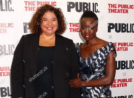 """Director Liesl Tommy, left, and Danai Gurira attend the opening night celebration of """"Eclipsed"""" in New York. Tommy, the South African-born director, has capped a remarkable season for nurturing Eclipsed on Broadway and earning a Tony Award nomination for directing. The Tony Awards will be held on Sunday, June 12"""