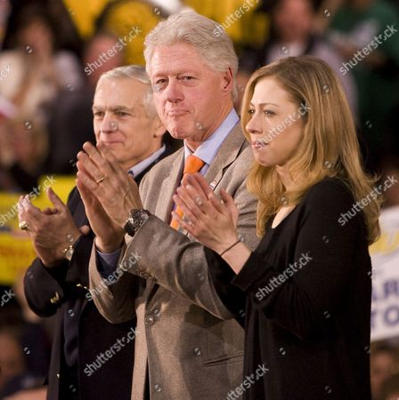General Wesley Clark President Bill Clinton and Chelsea Clinton Pictured at a Hillary Clinton Supporter Rally at Greenspun Middle School in Henderson Nevada January 18 2008 Â United States Henderson