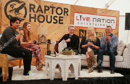 Joe Zee, Amanda de Cadenet, Tyler Oakley, Meredith Foster and Moj Mahdara, from right, take part in the 'Creating A Career : What it's like to be able to reach millions of people with the click of a button?' panel held at AOL's BUILD Speaker Series at Roc Nation, Live Nation, Raptor House on in Austin, Texas. (Photo by Jack Plunkett/Invision/AP) Stilababe09