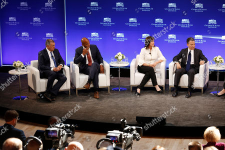 Mel Martinez, Wes Moore, Jean Case, Jeffrey Rosen. J.P. Morgan Chase Chairman of the Southeast U.S. and Latin America Mel Martinez, left, CEO of the Robin Hood Foundation Wes Moore, second from left, CEO of the Case Foundation Jean Case, second from right, and CEO of the National Constitution Center Jeffrey Rosen participate in a panel discussion at a forum sponsored by the George W. Bush Institute in New York