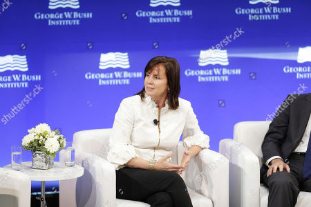CEO of the Case Foundation Jean Case participates in a panel discussion at a forum sponsored by the George W. Bush Institute in New York