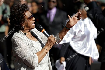 Stock Photo of Cissy Houston, mother of the late singer Whitney Houston, performs with the New Hope Baptist Choir during the grand opening of the Grammy Museum Experience at Prudential Center, in Newark, N.J