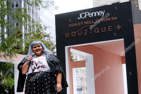 Stock Image of Plus-size fashion designer and winning reality TV star, Ashley Nell Tipton, introduces the new Ashley Nell Tipton for JCPenney Boutique+ plus-size capsule collection at a fashion show, in New York