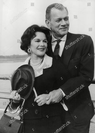 Stock Image of American Actor Joseph Cotten And His Actress Wife Patricia Medina (she Is His 2nd Wife) On Arrival At Southampton. Box 763 408061724 A.jpg.