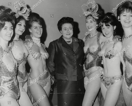 Sheila Van Damm Former Racing Driver And Owner Of The Windmill Theatre With Some Of Her Windmill Girls L-r: Serena Armitage Lola Scott Shendah Pearce Sheila Jill Conway Adele Warren And Margaret Nicholson. Box 771 910071746 A.jpg.