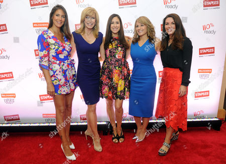 """Jaime Primak Sullivan, star of """"Jersey Belle"""" and """"CawfeeTawk,"""" TV personality Leeza Gibbons, OK! TV host Julie Alexandria, Angela Maiers, founder of """"Choose2Matter,"""" and Liz Haesler, SVP, Staples, left to right, participate in Staples BTS Live! at BlogHer15 where they discussed back-to-school trends, in New York"""
