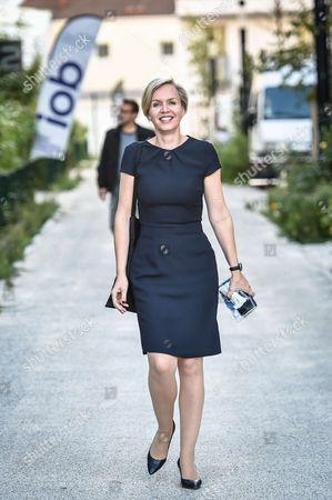 Bordeaux Deputy Mayor Virginie Calmels leaves the new Ubisoft company office in Bordeaux