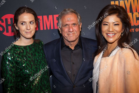 Les Moonves (center) with wife Julie (right) and Daughter Sara (Left) seen at Mayweather VS. Pacquiao VIP Pre-Fight Party at MGM Grand on Saturday, May 2nd, 2015, in Las Vegas, NV