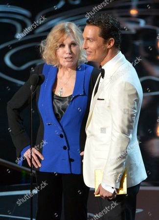 Stock Photo of Kim Novak, left, and Matthew McConaughey speak during the Oscars at the Dolby Theatre in Los Angeles. Novak said, that criticism of how she looked as a presenter at the Oscars last month amounted to hurtful bullying, which she condemned in an open letter and interview
