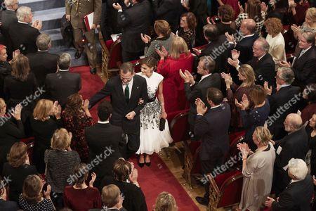 King Felipe VI of Spain, Queen Letizia, Paloma Rocasolano during the Princesa de Asturias Awards ceremony