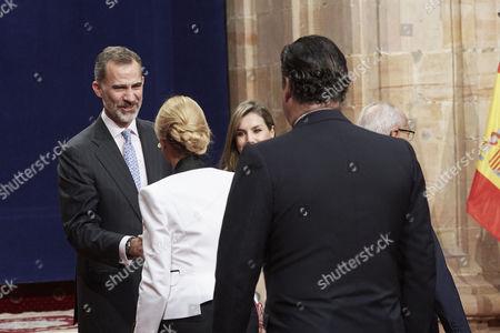 King Felipe VI, Queen Letizia, Esther Alcocer Koplowitz during a royal audience